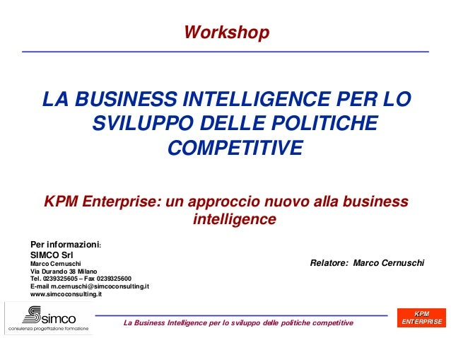 SIMCO: La Business Intelligence per lo sviluppo di politiche competitive