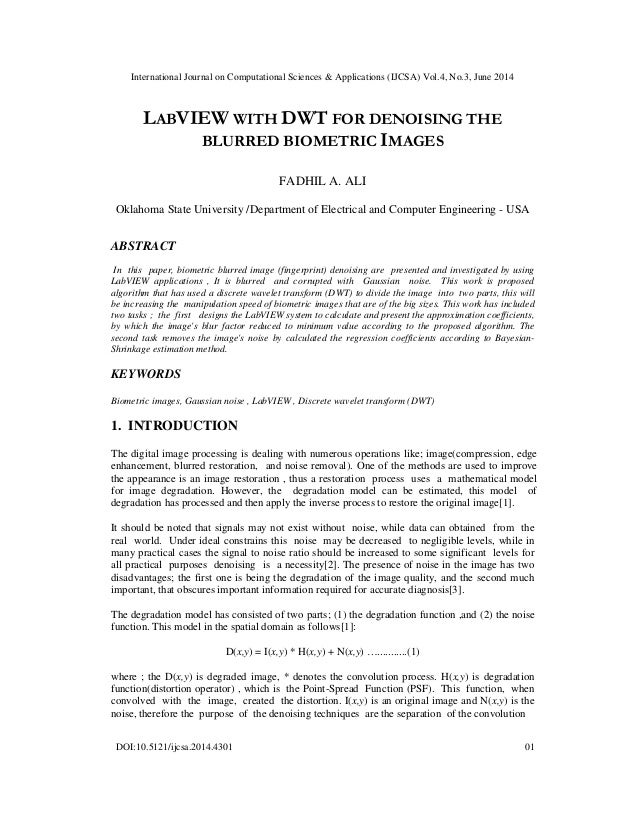 International Journal on Computational Sciences & Applications (IJCSA) Vol.4, No.3, June 2014 DOI:10.5121/ijcsa.2014.4301 ...