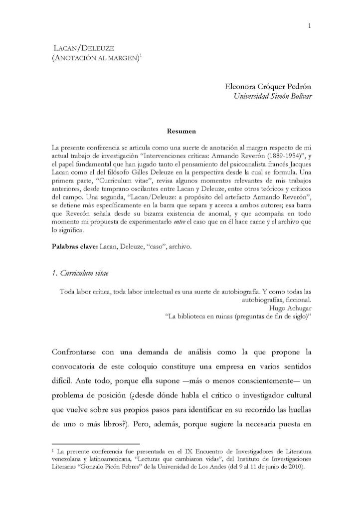 LACAN/DELEUZE (ANOTACIÓN AL MARGEN)