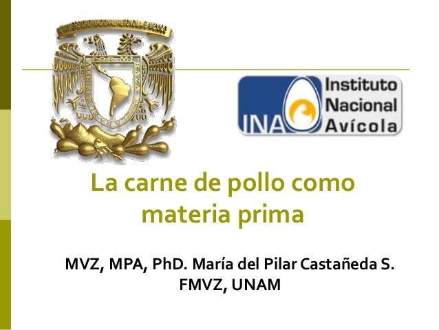 La carne de pollo como materia prima MVZ, MPA, PhD. María del Pilar Castañeda S. FMVZ, UNAM