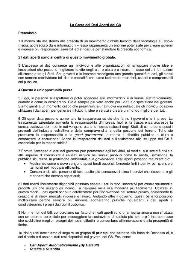 La Carta dei Dati Aperti del G8Preambolo1 Il mondo sta assistendo alla crescita di un movimento globale favorito dalla tec...