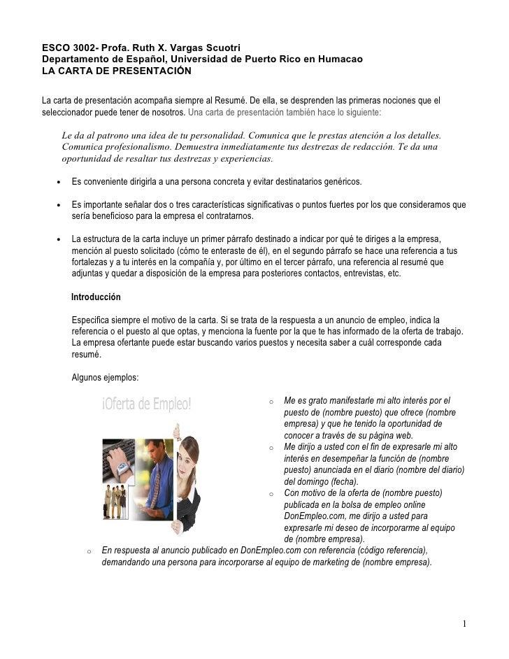ESCO 3002- Profa. Ruth X. Vargas Scuotri Departamento de Español, Universidad de Puerto Rico en Humacao LA CARTA DE PRESEN...