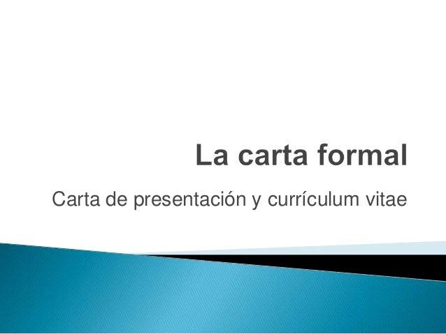 Carta de presentación y currículum vitae