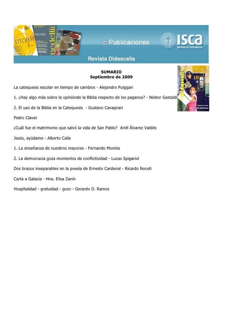 Revista Didascalia                                              SUMARIO                                         Septiembre...