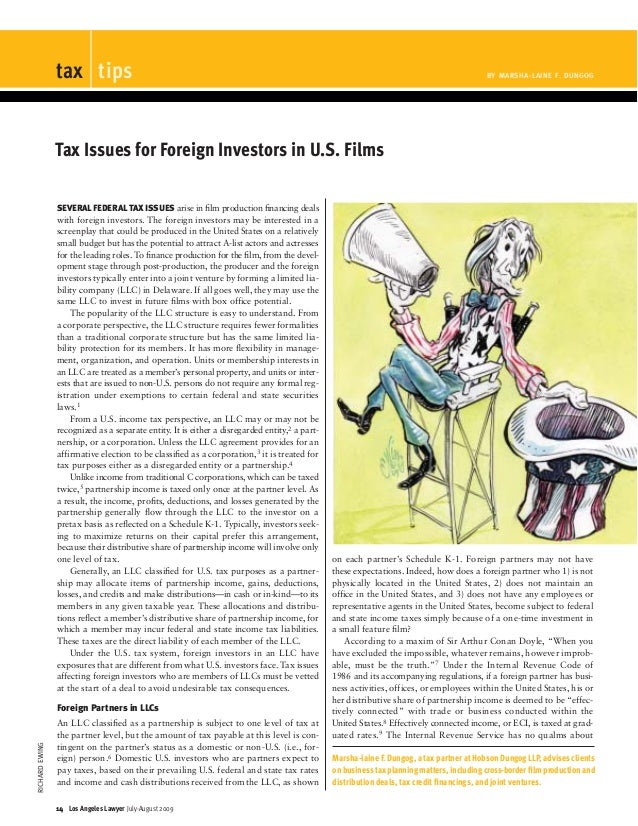 Tax Issues for Foreign Investors in U.S. Films