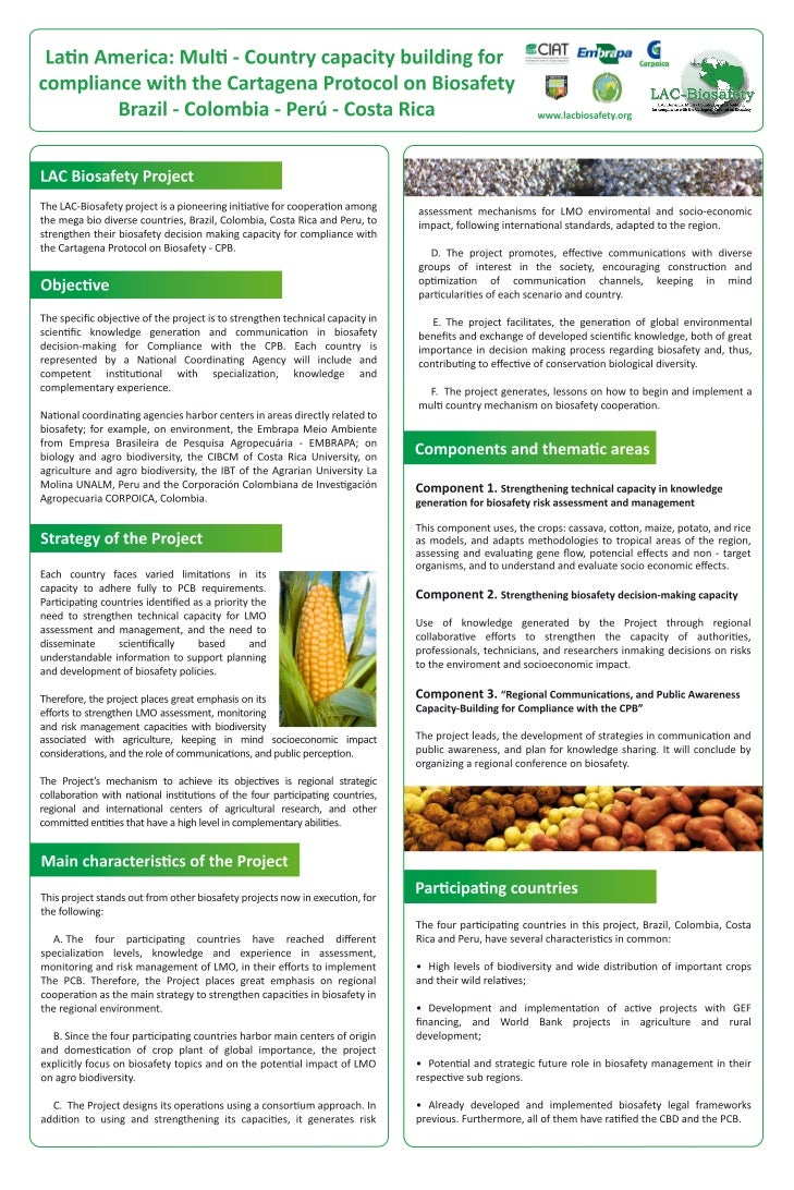 Poster45: Latin America Multi-Country capacity building for compliance with the Cartagena protocol on biosafety Brazil- Co...