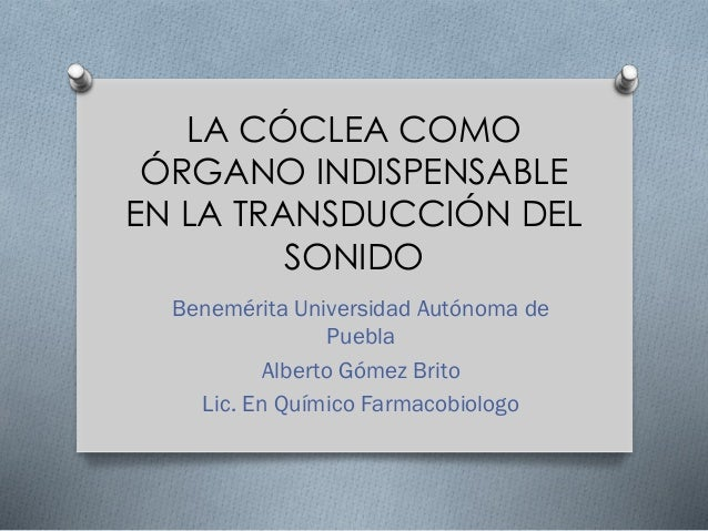 LA CÓCLEA COMO ÓRGANO INDISPENSABLE EN LA TRANSDUCCIÓN DEL SONIDO Benemérita Universidad Autónoma de Puebla Alberto Gómez ...