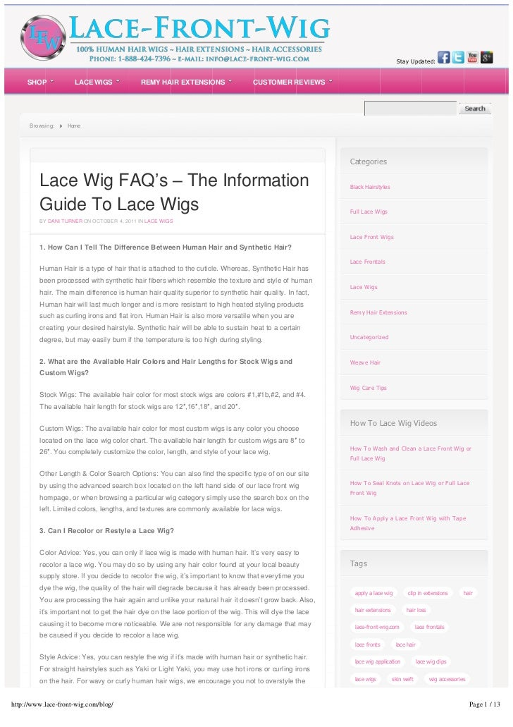 Lace front wig blog, videos and tips