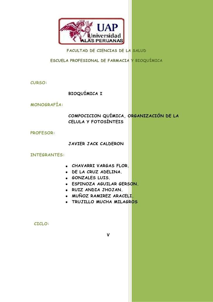 FACULTAD DE CIENCIAS DE LA SALUD          ESCUELA PROFESIONAL DE FARMACIA Y BIOQUÍMICACURSO:                 BIOQUÍMICA IM...