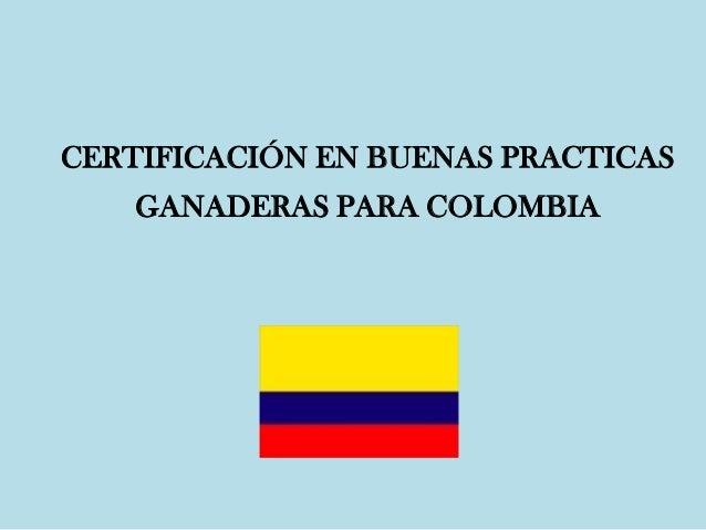 CERTIFICACIÓN EN BUENAS PRACTICAS GANADERAS PARA COLOMBIA