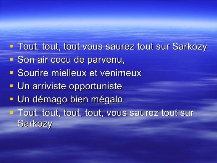 La chanson de sarkozy