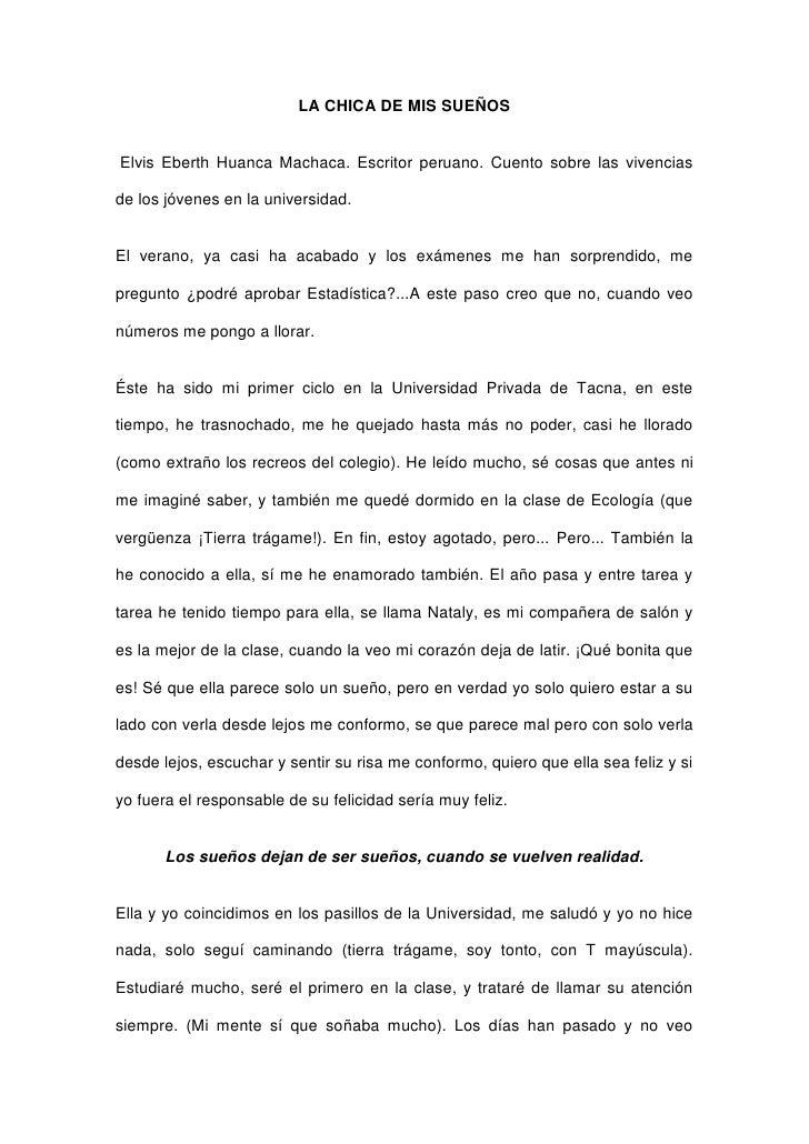 LA CHICA DE MIS SUEÑOS<br />Elvis Eberth Huanca Machaca. Escritor peruano. Cuento sobre las vivencias de los jóvenes en l...