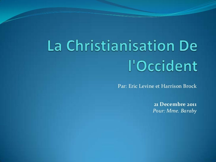 Par: Eric Levine et Harrison Brock               21 Decembre 2011               Pour: Mme. Baraby