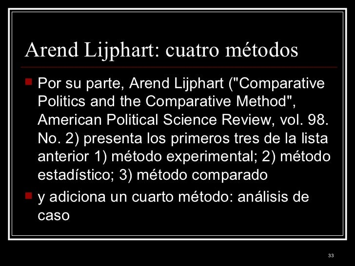 an analysis of comparative politics and the comparative method by arend lijphart Comparative politics and the comparative method arend lijphart university of leiden among the several fields or subdisciplines into which the discipline of political science is usually divided, comparative politics is the only one that carries a methodological instead of a substantive label.