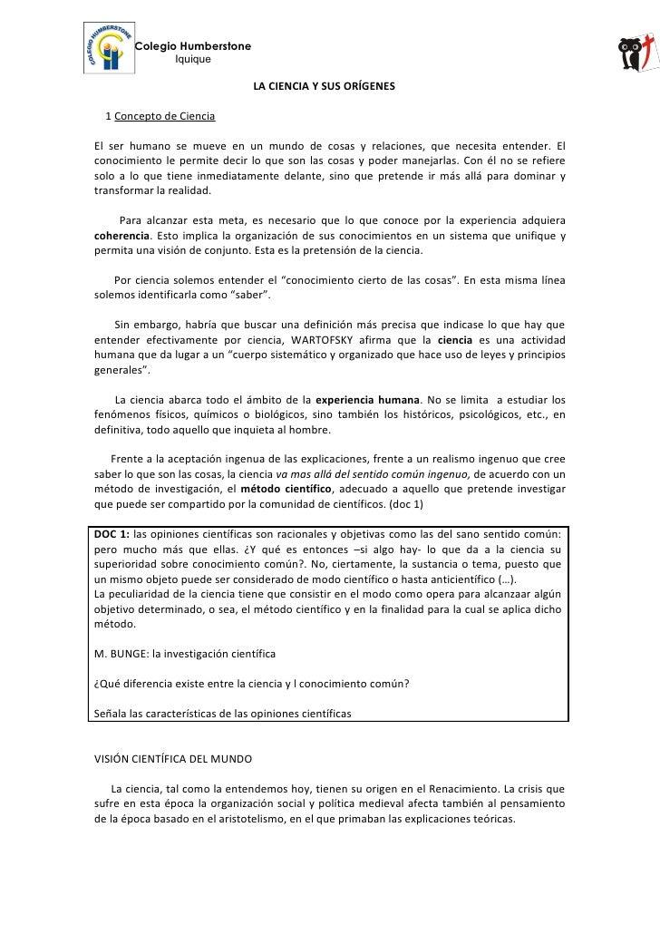 Colegio Humberstone               Iquique                                  LA CIENCIA Y SUS ORÍGENES  1 Concepto de Cienci...