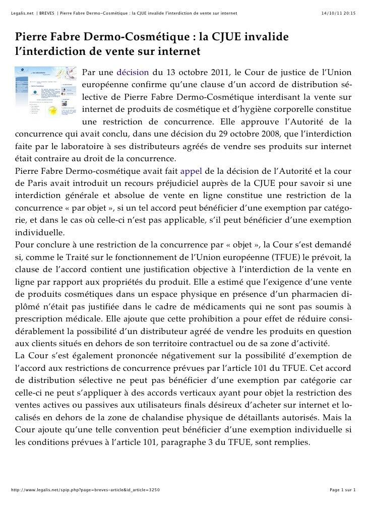 La cjue invalide l'interdiction de vente sur internet
