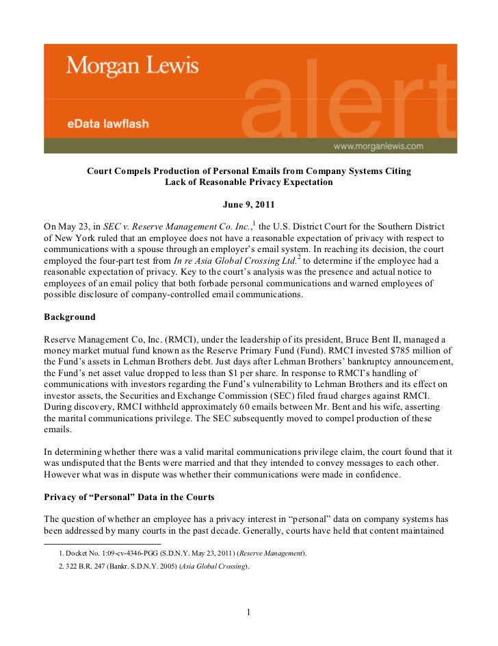 Court Compels Production of Personal Emails from Company Systems Citing                            Lack of Reasonable Priv...