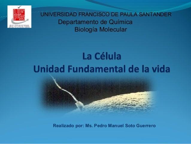 Realizado por: Ms. Pedro Manuel Soto Guerrero UNIVERSIDAD FRANCISCO DE PAULA SANTANDER Departamento de Química Biología Mo...