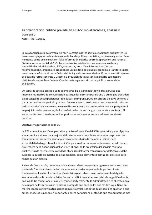 La colaboración público privada en el sns movilizaciones análisis y consenso