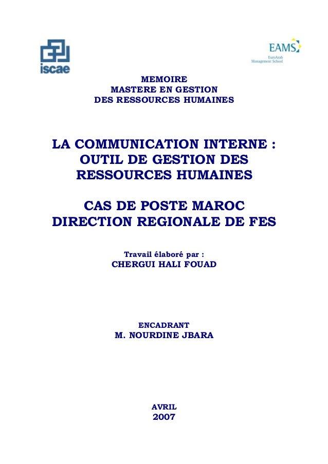 C an            MEMOIRE       MASTERE EN GESTION    DES RESSOURCES HUMAINESLA COMMUNICATION INTERNE :    OUTIL DE GESTION ...