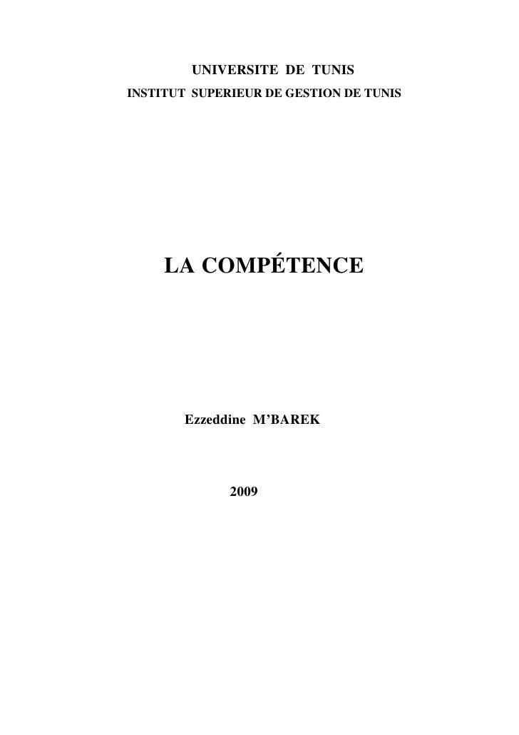 LA COMPETENCE  Ezzeddine MBAREK