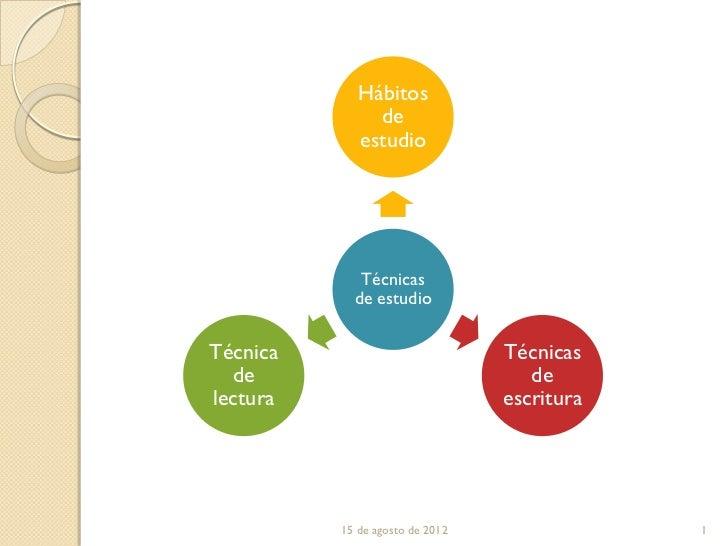 Hábitos               de             estudio             Técnicas            de estudioTécnica                          Té...
