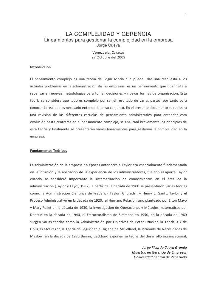 LA COMPLEJIDAD Y GERENCIA Lineamientos para gestionar la complejidad en la empresa