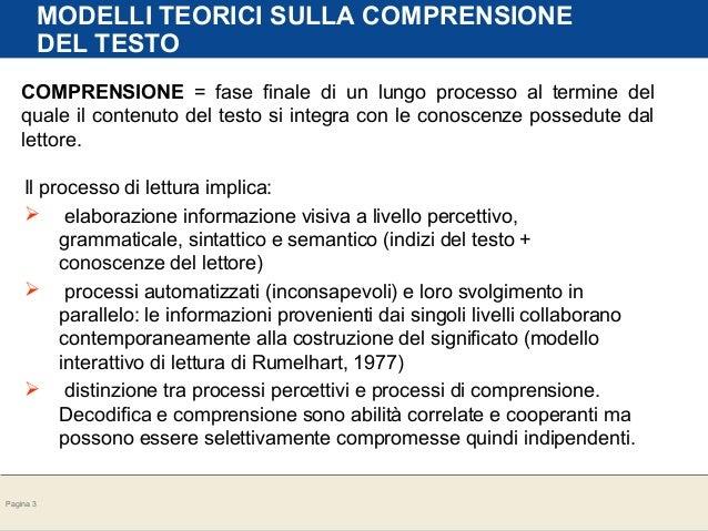 Pagina 3<br /> MODELLI TEORICI SULLA COMPRENSIONE<br /> DEL TESTO<br /> COMPRENSIONE = fase finale di un lungo processo al termine del<br /> quale...