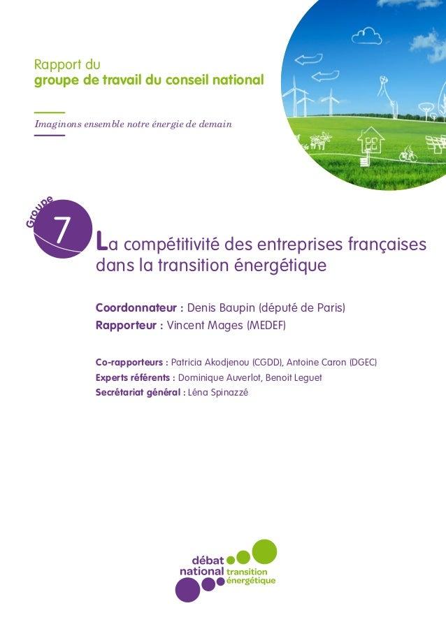 La compétitivité des entreprises françaises dans la transition énergétique