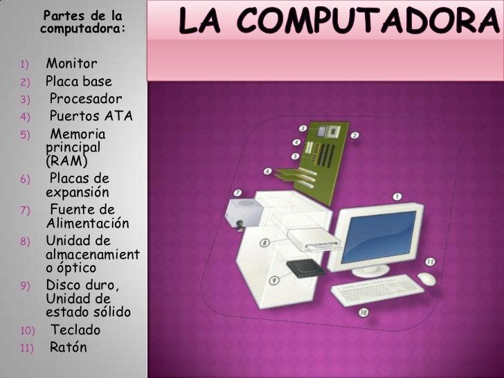 La Computadora<br />Partes de la computadora:<br />Monitor<br />Placa base<br /> Procesador<br /> Puertos ATA<br /> Memori...