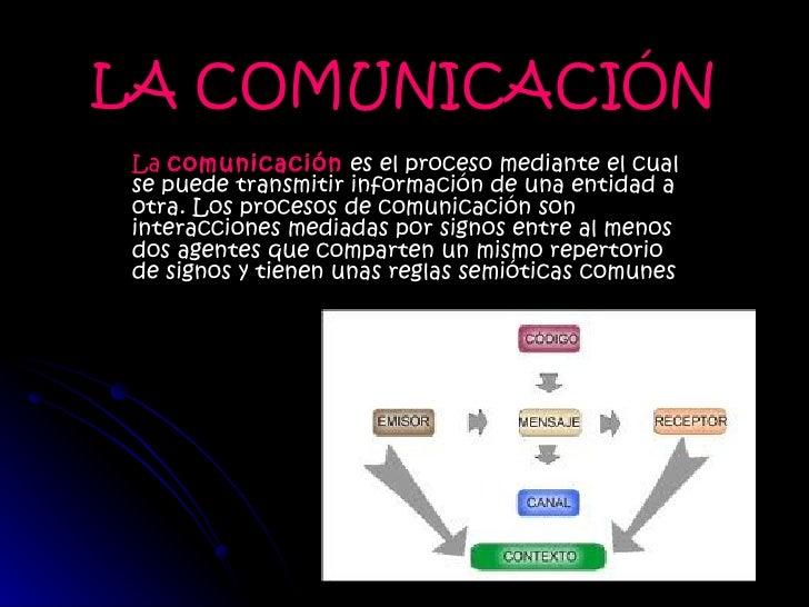 LA COMUNICACIÓN La  comunicación  es el proceso mediante el cual se puede transmitir información de una entidad a otra. Lo...