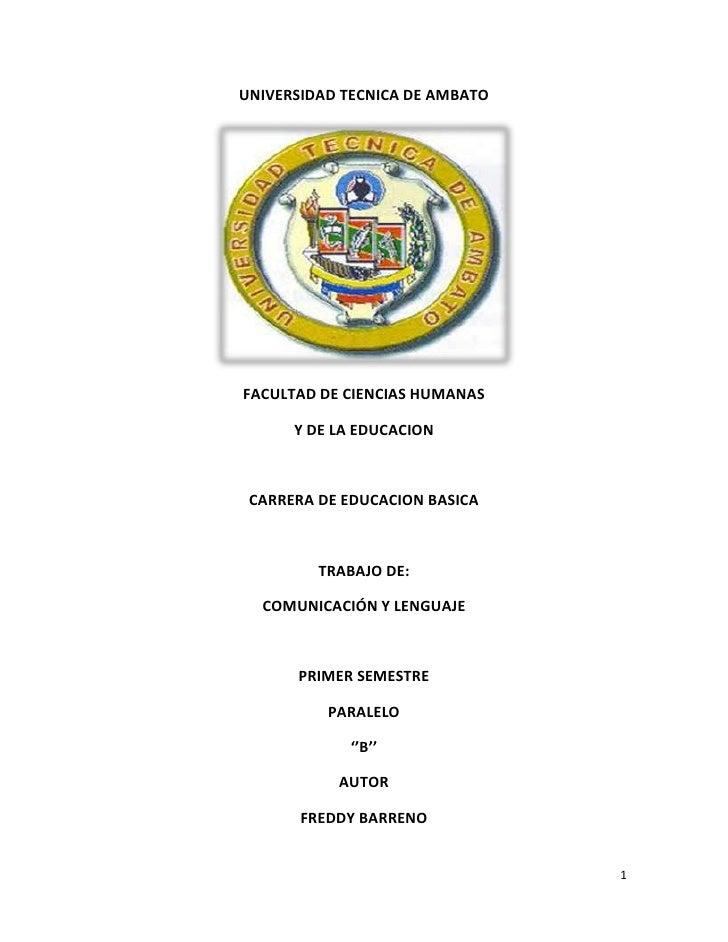 UNIVERSIDAD TECNICA DE AMBATOFACULTAD DE CIENCIAS HUMANAS      Y DE LA EDUCACION CARRERA DE EDUCACION BASICA         TRABA...