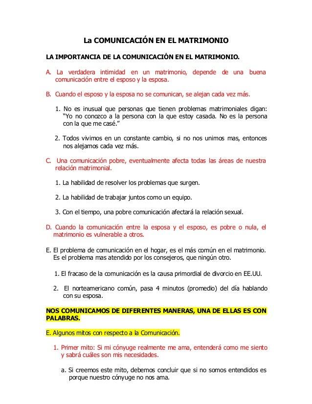 La COMUNICACIÓN EN EL MATRIMONIO LA IMPORTANCIA DE LA COMUNICACIÓN EN EL MATRIMONIO. A. La verdadera intimidad en un matri...