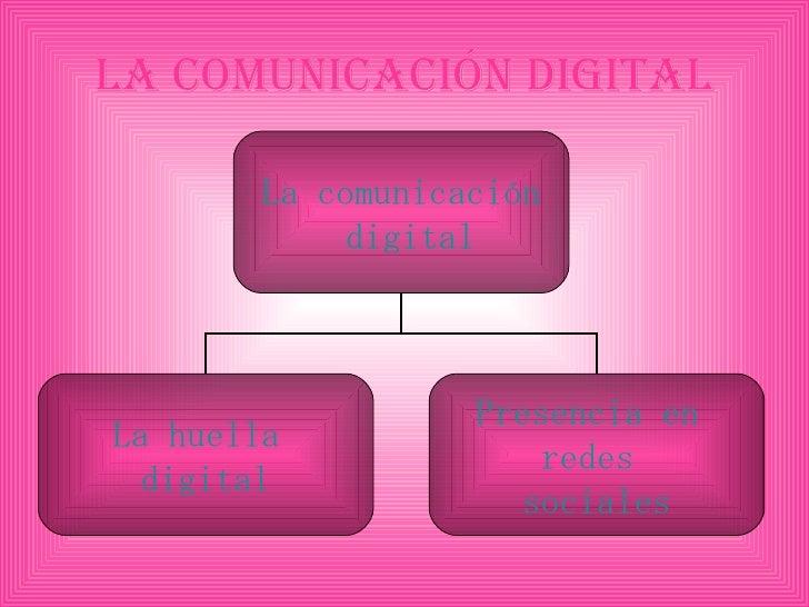 La comunicación digital La comunicación  digital La huella  digital Presencia en  redes  sociales