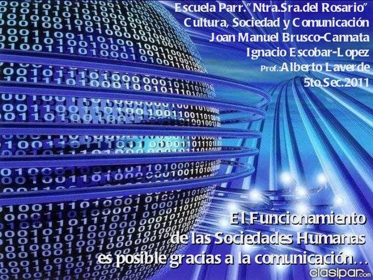 """El Funcionamiento  de las Sociedades Humanas  es posible gracias a la comunicación… Escuela Parr.""""Ntra.Sra.del Rosario"""" Cu..."""