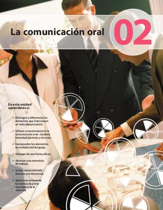 La comunicación oralEn esta unidadaprenderás a:• Distinguir y diferenciar loselementos que intervienenen toda comunicación...