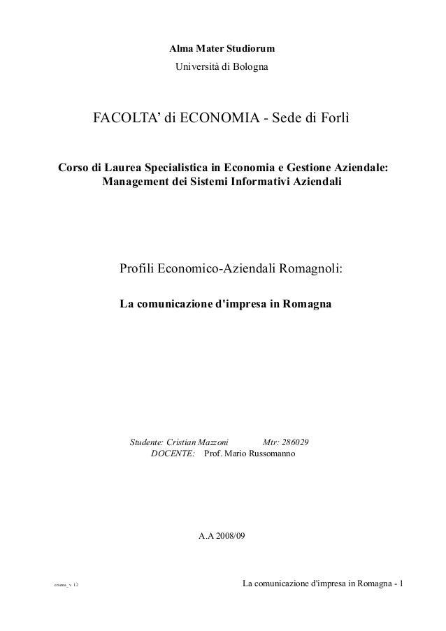 Alma Mater Studiorum                               Università di Bologna                FACOLTA' di ECONOMIA - Sede di For...