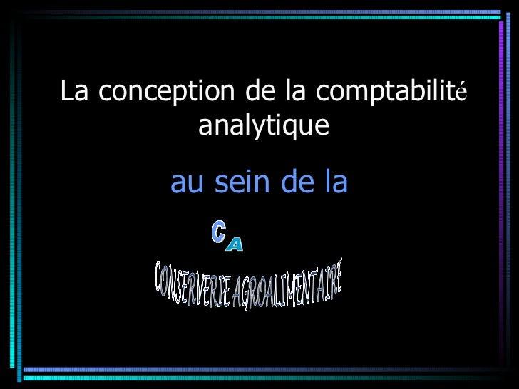 La Conception de la comptabilité analytique