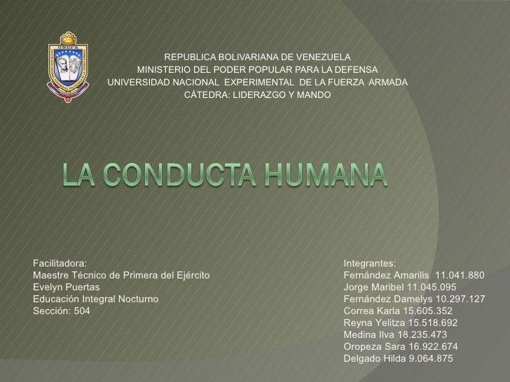 REPUBLICA BOLIVARIANA DE VENEZUELA MINISTERIO DEL PODER POPULAR PARA LA DEFENSA UNIVERSIDAD NACIONAL  EXPERIMENTAL  DE LA ...