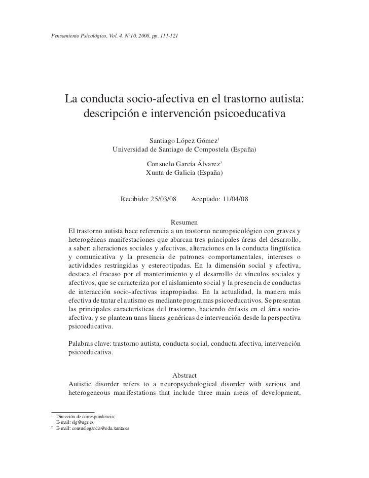 PensamientoCONDUCTA SOCIO-AFECTIVA2008, pp. 111-121 AUTISTA: DESCRIPCIÓN E INTERVENCIÓN PSICOEDUCATIVA        LA Psicológi...
