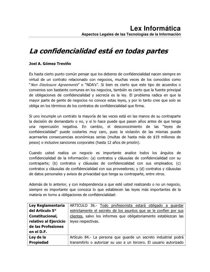 Lex Informática                               Aspectos Legales de las Tecnologías de la InformaciónLa confidencialidad est...