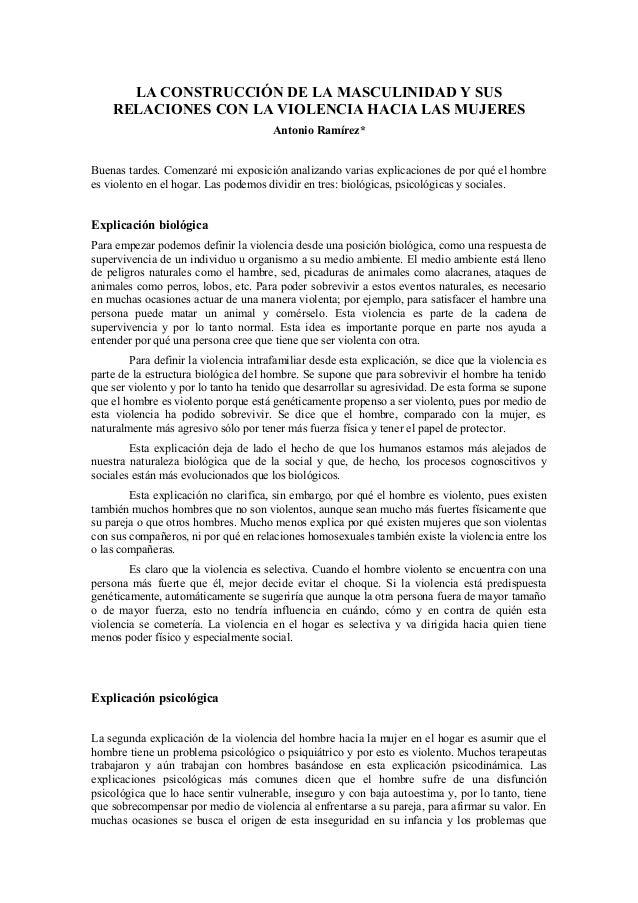 LA CONSTRUCCIÓN DE LA MASCULINIDAD Y SUS    RELACIONES CON LA VIOLENCIA HACIA LAS MUJERES                                 ...
