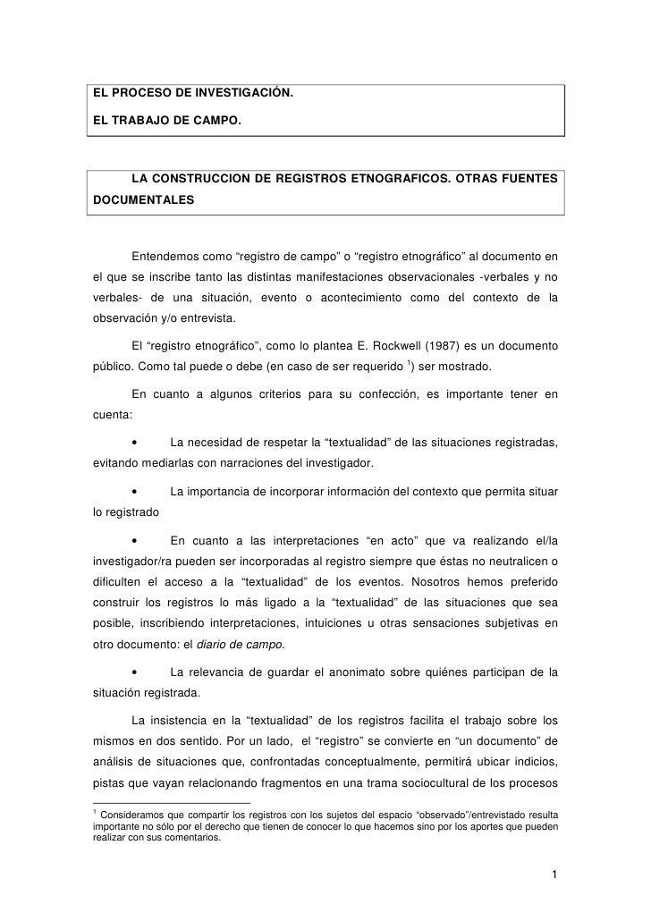 EL PROCESO DE INVESTIGACIÓN.EL TRABAJO DE CAMPO.        LA CONSTRUCCION DE REGISTROS ETNOGRAFICOS. OTRAS FUENTESDOCUMENTAL...