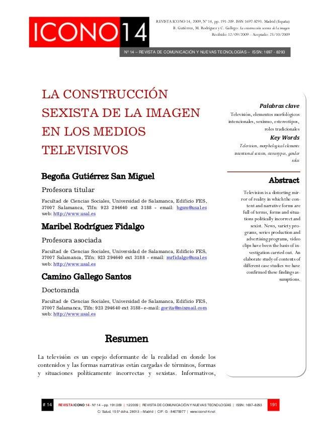 Nº 14 – REVISTA DE COMUNICACIÓN Y NUEVAS TECNOLOGÍAS – ISSN: 1697 - 8293 REVISTA ICONO 14, 2009, Nº 14, pp. 191-209. ISSN ...