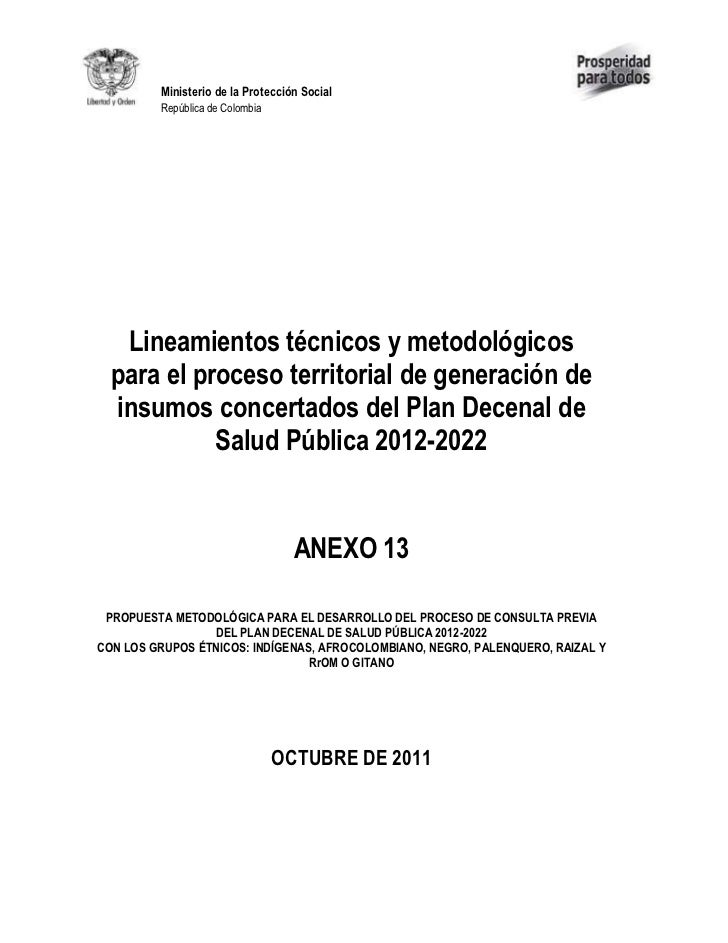 Ministerio de la Protección Social         República de Colombia   Lineamientos técnicos y metodológicos  para el proceso ...