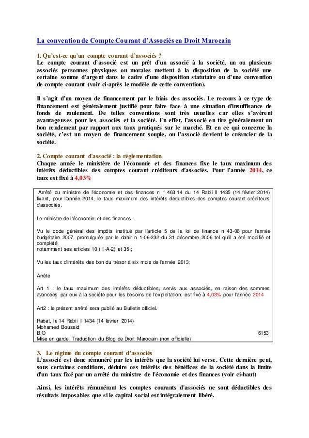 La convention de Compte Courant d'Associés en Droit Marocain 1. Qu'est-ce qu'un compte courant d'associés ? Le compte cour...