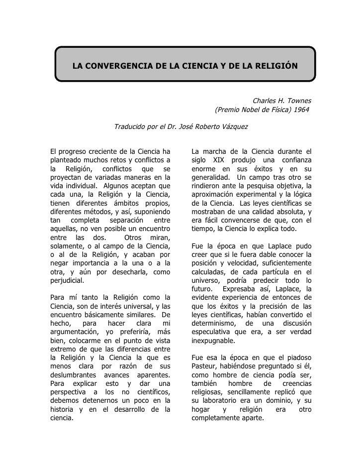 LA CONVERGENCIA DE LA CIENCIA Y DE LA RELIGIÓN                                                                  Charles H....