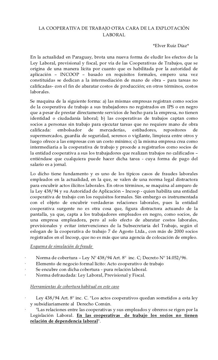 LA COOPERATIVA DE TRABAJO OTRA CARA DE LA EXPLOTACIÓN                              LABORAL                                ...