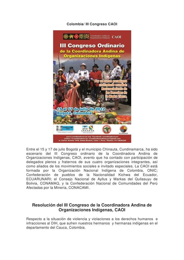 Colombia/ III Congreso CAOIEntre el 15 y 17 de julio Bogotá y el municipio Chinauta, Cundinamarca, ha sidoescenario del II...