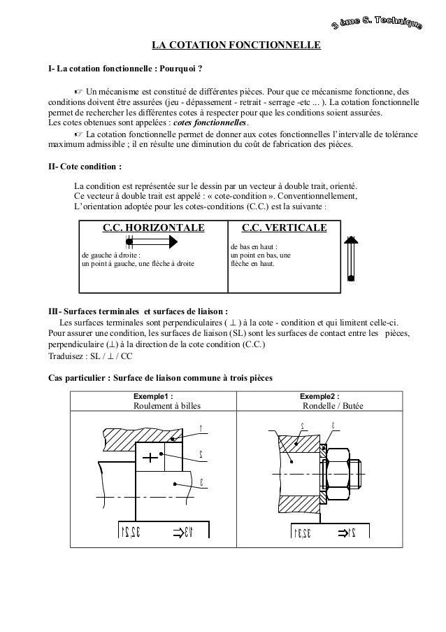 LA COTATION FONCTIONNELLE I- La cotation fonctionnelle : Pourquoi ?  Un mécanisme est constitué de différentes pièces. Po...